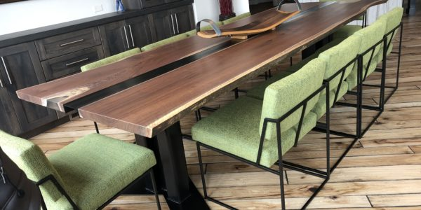 Black Walnut Table with Metal Center